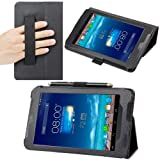 Evecase SlimBook Leather HandStrap Folio Stand Case Cover for ASUS Fonepad 7 (ME372CG) - 7-inch Android Tablet ( Black)