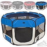 TecTake Welpenlaufstall Tierlaufstall für Kleintiere wie Hunde, Katzen - diverse Farben - (Blau)