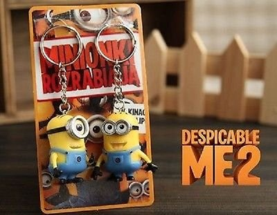 Minion-Keychain-Despicable-Me-2-3D-Minions-Keyring-Ornaments-Movie-2-Piece-Set