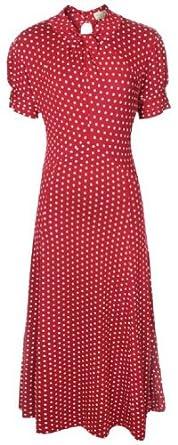 Lindy Bop 'Amie' Classy Polka Dot Vintage WW2 1940's 1950's Pinup Flared Retro Tea Dress (XS, Red)