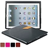 KEVENZ Ultra Thin Magnetic leather Cover & Back Case For Apple iPad 2 / iPad 3 / iPad 4 - Black - K405