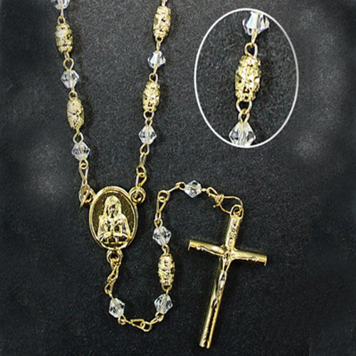 Gold-Plated Rosary with 5mm Glass and Gold Filigree Beads with 12
