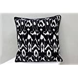 AURAVE Black Printed Ikat Design Cotton Cushion Cover - Set Of Two - 12 Inch X 12 Inch