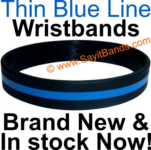Thin Blue Line Silicone Wristband Bracelets Police
