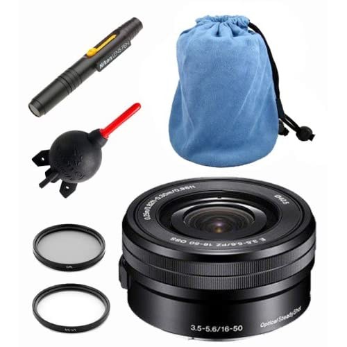 Sony SELP1650 16-50mm Power Zoom Lens + Sony Hood + Giotto's Case + Filter Kit + Lens Pen Cleaning System + Giotto's Blower + Cleaning Cloth