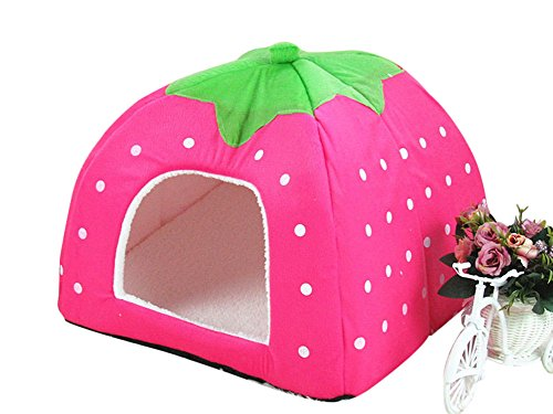 Freerun Cute Soft Strawberry Small Cotton Soft Dog Cat Pet Bed House (Pink, L) (Pet Taxi Replacement Parts compare prices)