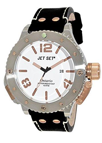 Jet Set  - Reloj de cuarzo para hombre, correa de cuero color negro