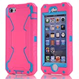 Vogue shop iPhone 5S Case, [Robot Series] iPhone 5S New Robot Case 3 in 1 3-piece Combo Hybrid Defender High Impact Body Armor Hard PC & silicone Case,Protective Cover for Apple iPhone 5S with Screen protector Aesthetic design (pink/blue)