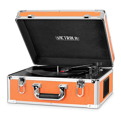 Victrola Suitcase Record Player with Bluetooth, Orange
