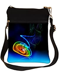 Snoogg Neon Circles Cross Body Tote Bag / Shoulder Sling Carry Bag