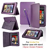 eLifeStore� Kindle Fire PU Leather Case Cover Multi-Function Flip Stand Wallet Book (NOT FOR HD), Bonus: Capacitive Stylus Pen + Screen Protector for Amazon Kindle Fire 7 inch LCD Display Wi-Fi 8GB Android Tablet - 2011 Model, NOT for HD (Purple)by SAVFY