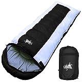 丸洗いOK White Seek 寝袋 シュラフ 封筒型 耐寒温度 -15℃ コンパクト収納 オールシーズン (ブラック)