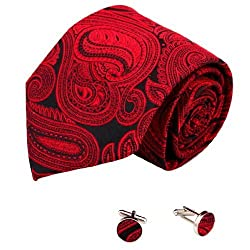 Red Paisleys handmade silk tie cufflinks set Black pattern gifts for the groom A2083