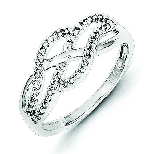 Sterling Silver Diamond Wave Ring - Ring Size Options Range: L to P