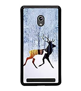 Fuson Premium 2D Back Case Cover Deer in Snow With Multi Background Degined For Asus Zenfone 6::Asus Zenfone 6 A600CG