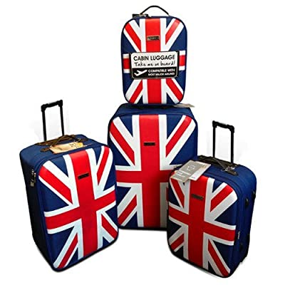 Trolley Set of 4 - UK deSiGn Eye Catching Travellers Case Set Wheeled Suitcase Union Jack Cabin Case 4 Piece Luggage Set by Faro
