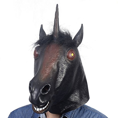 [Evil Unicorn Mask Black Latex Fun Party Rubber Animal Costume Theater Prop Novelty] (Party City Costume Fashion Masks Masquerade)