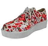 LoudLook New Womens Ladies Girls Low Heel Lace Up Flatform Sole Creepers Shoes Boots Size 3-8 UK 2 Colours