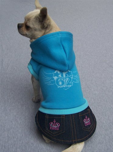 "Popstar '62 Fleece Sweatshirt Hoodie Attached Studded Denim Skirt For Small Dogs 16-20 Lbs Sized L(Chest 18.5""-19.3"")"