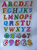 1 x Large sheet (#1) colourful letters & numbers alphabet Puffy 3D style decal re-usable stickers for Craft Kids Scrap Books Birthday Cards