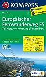 Europäischer Fernwanderweg E5 - Teil Nord Konstanz /Mittelberg (Pitztal): Wanderkarte mit touristischen Hinweisen und Höhenprofilen. 1:50000