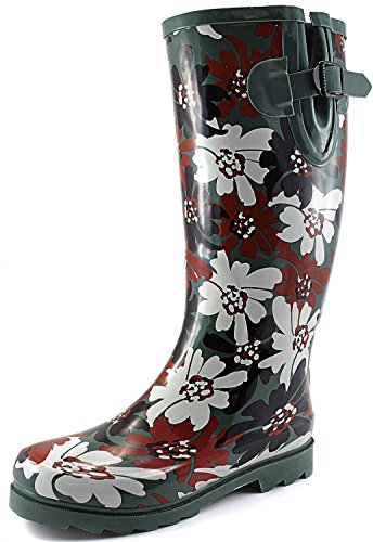 Women's Puddles Rain and Snow Boot Multi Color Mid Calf Knee