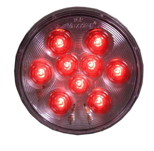"Maxxima M42322Rcl Red 4"" Round Stop/Tail/Turn Light With Clear Lens"