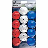 Intech Practice Balls with holes, 12 Pack (Red/White/Blue)
