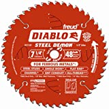 Freud Diablo DO748F Diablo Steel Demon 7 1/4 Inch 48-Tooth Titanium Carbide TCG Ferrous Metal Cutting Circular Saw Blade w/ Perma Shield Non-Stick Coating and Laser Cut Stabilizing Vents (Color: Steel, Tamaño: 7-1/4