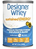 Designer Protein Sustained Energy - Premium Protein Powder with Soy, Vanilla Bean, 12 Ounce