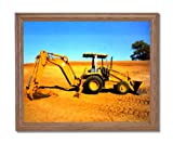 Caterpillar 416C Backhoe Wall Picture Oak Framed Art Print