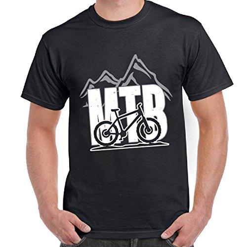 T-Shirt Divertenti Uomo Maglietta Scura In Cotone Con Stampa MTB Mountain Bike, Colore: Nero, Taglia: S