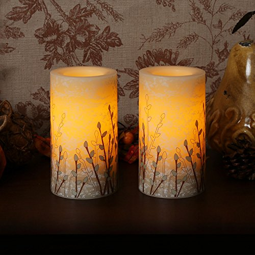 """Candle Impressions Set Of 2 Marbleized Willow 6"""" Flameless Wax Pillar Candles With Programmable Timer"""
