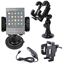 DURAGADGET Exclusive 3-in-1 In-Car Smartphone Kit with Windscreen Suction Mount/Holder, Adhesive Dashboard Pad and BONUS Charger for Blackberry Passport