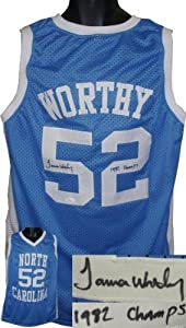 Autographed James Worthy Jersey - North Carolina Tar Heels Blue Custom 1982 Champs... by Sports+Memorabilia