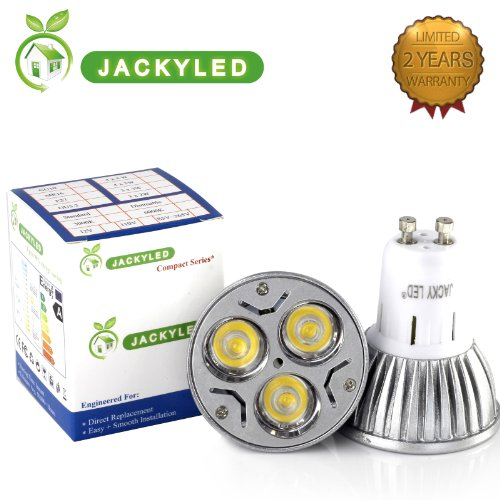 Jackyled Super Bright Led Gu10 6W Dimmable Warm Or Day White Power 50W Equivalent 60 Degree Gu10 Led Light Lamp Bulbs (Warm White)