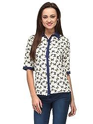 Vemero Women's Crepe Shirt__VCT-0003-WHT_ Multicoloured_XL