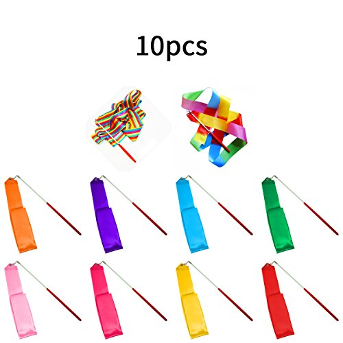 SunbowStar Gymnastic Ribbon 2M GYM Dance Rythemic Twirling Exercise Art Rod Stick 10pcs (10 Colors) (Streamers Gym compare prices)