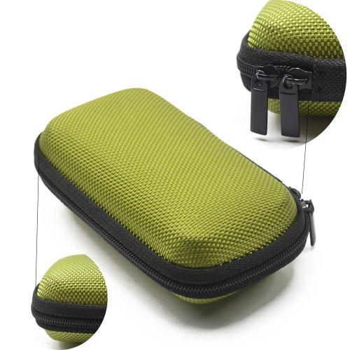 Case Star ® Black Color Rectangle Shaped Hard Earphone Headset Eva Case For Mp3/Mp4 Bluetooth Earphone Earbuds With Mesh Pocket, Zipper Enclosure, And Durable Exterior+ Case Star Velvet Bag (Rectangle Earphone Case - Green)