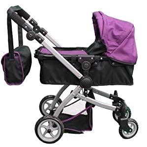 Amazon.com: Babyboo Deluxe Doll Pram Color PURPLE & BLACK