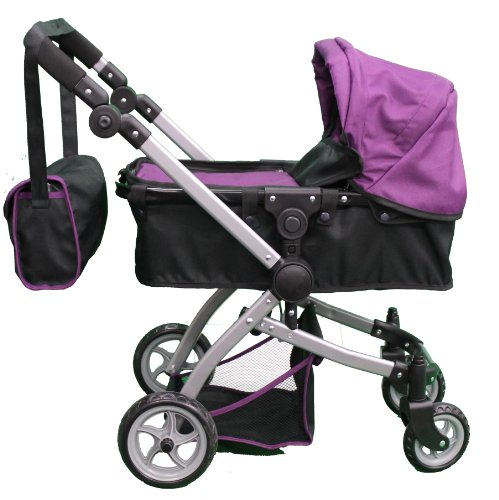 Babyboo Deluxe Doll Pram Color Purple & Black With Swiveling Wheels & Adjustable Handle And Free Carriage Bag - 9651B Prp front-719980