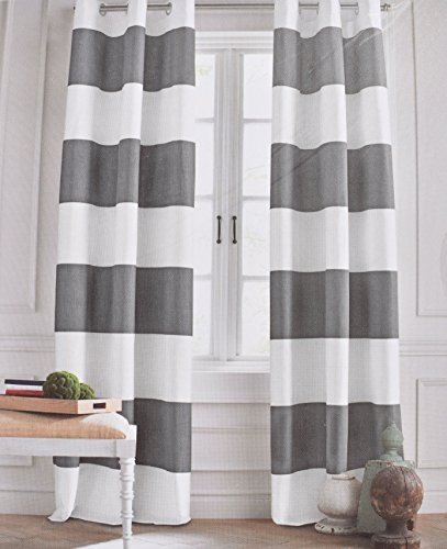 Tommy hilfiger grey cabana stripe curtains 2 panels 50 by 96 inch eyelet heading modern window - Delightful window treatment decorating design with various modern grey curtain ...