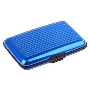 Wasserdichte Visitenkarte ID Kreditkarte Brieftasche Halter Aluminium-Etui Schutzschale (zufaellige Farbe) (Blau)