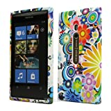Blue Flora TPU Gel Case Cover For Nokia Lumia 800