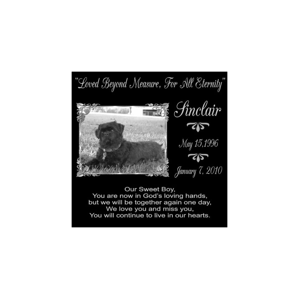 12 x 12 Lazer Gifts Personalized Our Sweet Boy Black Granite Pet Memorial Marker Style Sinclair