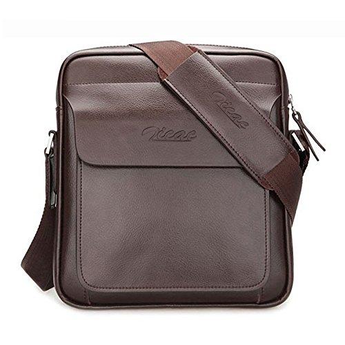 Zicac-Borsa da Uomo borsa Messenger tracolla in pelle Borsa Valigetta il Messenger borsa per contenere libri / iPad Ufficio (Marrone)