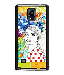 Fuson Pattern Girl Back Case Cover for SAMSUNG GALAXY NOTE 4 - D3643