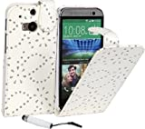 Connect Zone® White Diamond Bling PU Leather Flip Case Cover For HTC One M8 + Mini Touch Screen Stylus