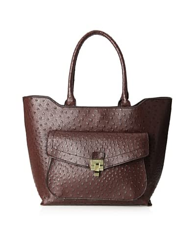 London Fog Women's Wesley Tote Shoulder Bag  [Bordeaux Ostrich]