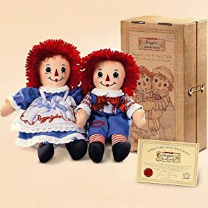 """Raggedy Ann & Andy 12"""" Dolls with Button Eyes"""